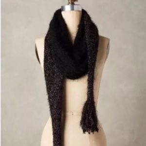 NWT Anthropologie Black Tinsel Knit Scarf